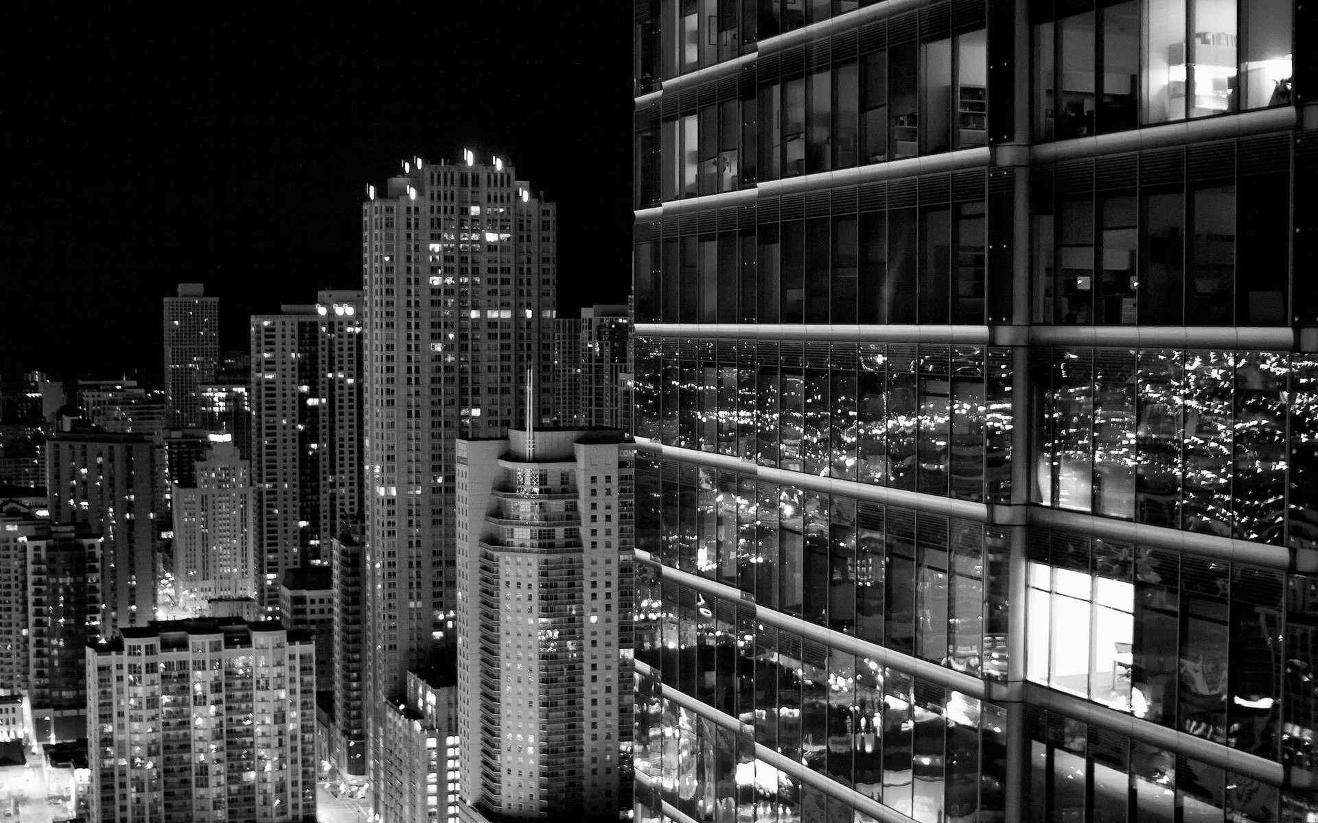 Sitrin Capital Chicago At Night Black And White Wallpaper 4